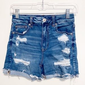 American Eagle Distressed stretch jean shorts 2